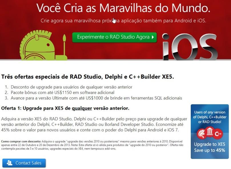 Três ofertas especiais de RAD Studio, Delphi e C++Builder XE5.