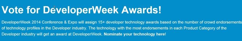 Vote for DeveloperWeek Awards!