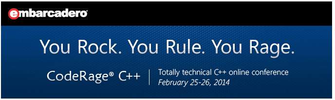CodeRage C++ is coming February 25-26, 2014!