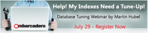 "We have all have spent a lot of time tuning indexes - it can be frustrating and time consuming.  Join Martin Hubel, Database Consultant- DBA Evangelist, and Embarcadero's Scott Walz as they discuss best practice strategies and techniques for avoiding index tuning pitfalls.  Learn and see the best techniques to tune and optimize indexes. Register for the webinar to learn how to: Which indexes to drop 3 Main ""Truths"" when tuning applications How to avoid index tuning from going awry"